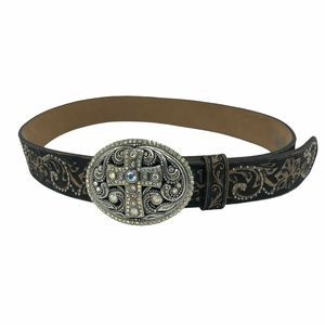 Justin Boots Black Leather Belt Cross Buckle 34